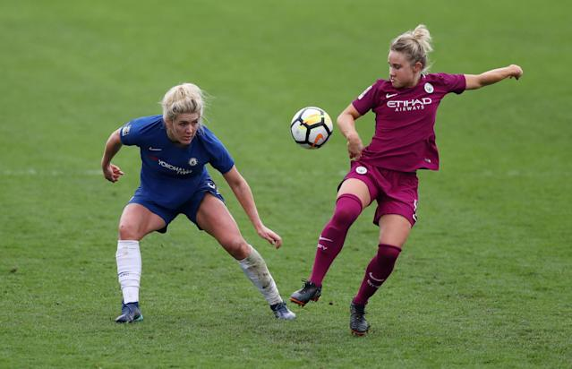 Soccer Football - Women's FA Cup Semi Final - Chelsea vs Manchester City - The Cherry Red Records Stadium, London, Britain - April 15, 2018 Chelsea's Millie Bright in action with Manchester City's Isobel Christiansen Action Images/Peter Cziborra