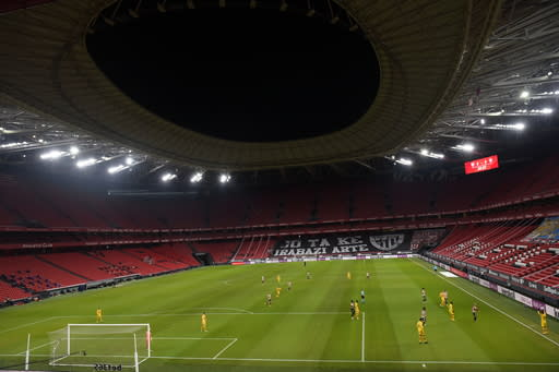 A view of the Mames stadium in Bilbao, Spain, during the Spanish La Liga soccer match between Athletic Bilbao and Barcelona, Wednesday, Jan. 6, 2021.(AP Photo/Alvaro Barrientos)