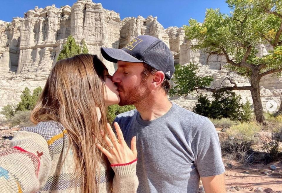 lily collins and charlie mcdowell engagement shot
