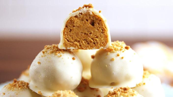 """<p>Fall means pumpkin EVERYTHING and these truffles are the perfect place to start. <br></p><p>Get the recipe from <a href=""""https://www.delish.com/cooking/recipe-ideas/recipes/a55032/pumpkin-cheesecake-bites-recipe/"""" rel=""""nofollow noopener"""" target=""""_blank"""" data-ylk=""""slk:Delish"""" class=""""link rapid-noclick-resp"""">Delish</a>.</p>"""