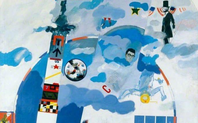 Part of Derek Boshier's oil painting 'I Wonder What My Heroes Think of the Space Race', one of the artworks on display in the 11 Downing Street flat