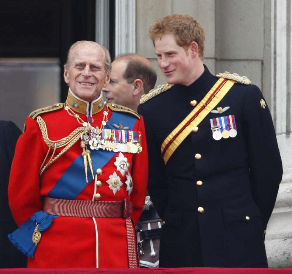 Prince Philip and Prince Harry in military uniform