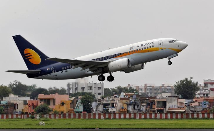 FILE PHOTO: A Jet Airways passenger aircraft takes off from the airport in Ahmedabad