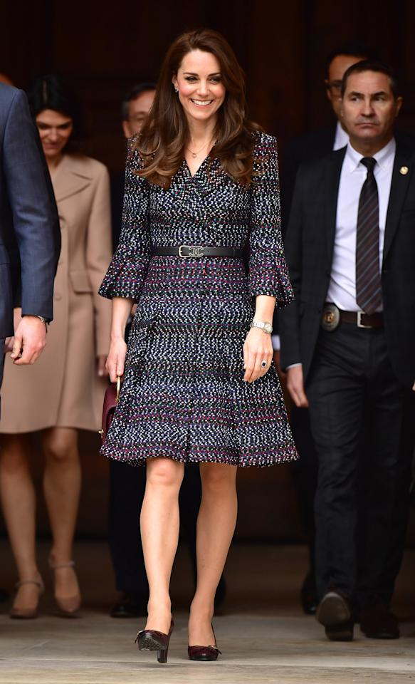 <p>What else to wear in Paris than Chanel? The Duchess donned a belted, tweed coat dress by the high end label, with a maroon bag also by the brand, for an event to highlight the ties between the young people in the UK and France on day two of the trip. <br /><em>[Photo: PA]</em> </p>