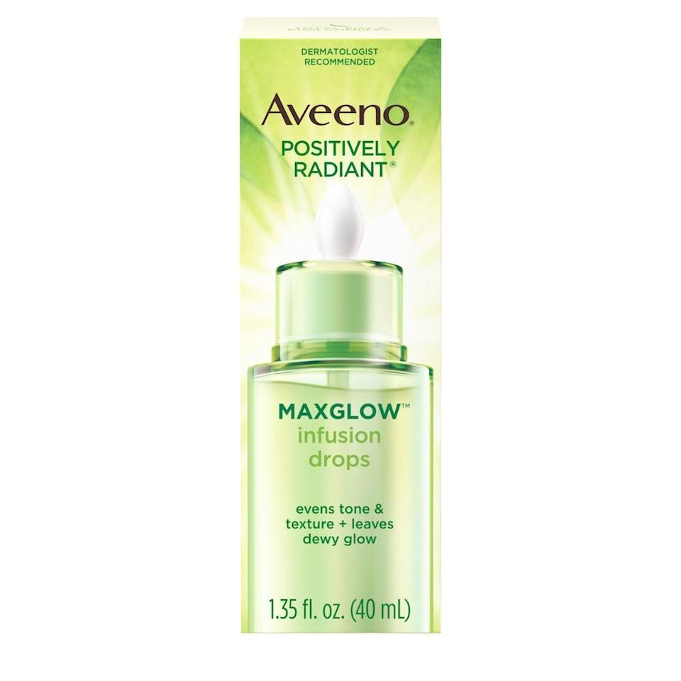 "<h3>Aveeno Positively Radiant MaxGlow Serum + Primer</h3><br><a href=""https://www.refinery29.com/en-us/stop-using-moisturizer-on-face"" rel=""nofollow noopener"" target=""_blank"" data-ylk=""slk:Skip the morning moisturizer"" class=""link rapid-noclick-resp"">Skip the morning moisturizer</a>; opt for this serum-primer hybrid instead. The bi-phase formula combines an oil-based component with kiwi water and skin-strengthening soy protein extract (just give the bottle a good shake to combine the two), for a fast-absorbing finish that imparts major hydration and creates a dewy, non-greasy base for makeup.<br><br><strong>Aveeno</strong> Positively Radiant MaxGlow Serum + Primer, $, available at <a href=""https://go.skimresources.com/?id=30283X879131&url=https%3A%2F%2Fwww.walmart.com%2Fip%2FAveeno-Positively-Radiant-Facial-Serum-Makeup-Primer-1-5-oz%2F999149569"" rel=""nofollow noopener"" target=""_blank"" data-ylk=""slk:Walmart"" class=""link rapid-noclick-resp"">Walmart</a>"