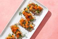 """<p>If cauliflower can become pizza crust then you'd better believe carrots can become smoked salmon. Take just one bite of this vegan Scandinavian delicacy on rye crispbread and you'll be on-board, too.</p><p><a class=""""link rapid-noclick-resp"""" href=""""https://www.womenshealthmag.com/food/a33267129/carrot-smorrebrod-crisps/"""" rel=""""nofollow noopener"""" target=""""_blank"""" data-ylk=""""slk:GET THE RECIPE"""">GET THE RECIPE</a></p><p><em>*Nutritional information not available</em></p>"""