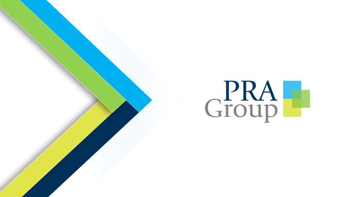 PRA Group logo with ribbons of blue, green, yellow, black, and white.