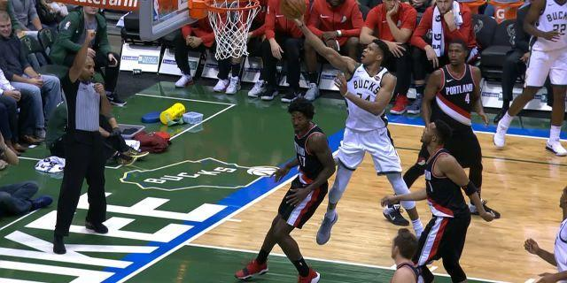 "<a class=""link rapid-noclick-resp"" href=""/nba/players/5185/"" data-ylk=""slk:Giannis Antetokounmpo"">Giannis Antetokounmpo</a> had a dominating performance against the Trail Blazers."