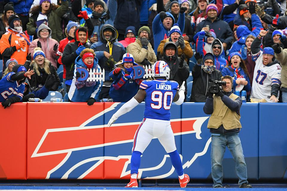 Nov 24, 2019; Orchard Park, NY, USA; Buffalo Bills defensive end Shaq Lawson (90) reacts to his sack towards the fans against the Denver Broncos during the third quarter at New Era Field. Mandatory Credit: Rich Barnes-USA TODAY Sports