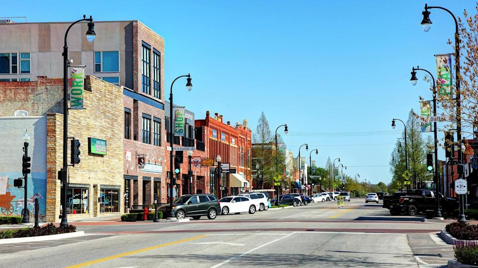 Broken Arrow, Oklahoma, USA - April 27, 2018: Daytime view of shops and buildings along S Main Street in the historic Rose District.