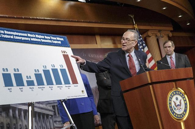 Sen. Charles Schumer, D-N.Y., left, accompanied by Sen. Jeff Merkley, D-Ore., meets with reporters on Capitol Hill in Washington, Tuesday, Jan. 7, 2014, after legislation to renew jobless benefits for the long-term unemployed unexpectedly cleared an initial Senate hurdle. The vote was 60-37 to limit debate on the legislation, with a half-dozen Republicans siding with the Democrats on the test vote. Sen. Jack Reed, D-R.I., along with Republican Sen. Dean Heller of Nevada, led the effort to reauthorize the benefits for three months which expired on Dec. 28. (AP Photo/J. Scott Applewhite)