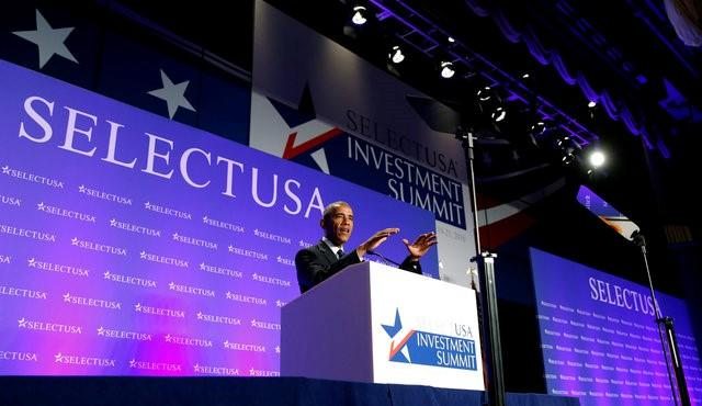 Obama speaks at an investment summit in Washington