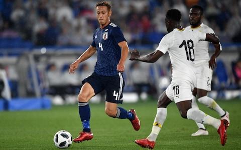 Here we take a look at Japan's World Cup squad and the other things it will be handy to know about the Group H challengers. Japan's World Cup squad - the 23 names 23-man final squad: Goalkeepers: Eiji Kawashima (Metz), Masaaki Higashiguchi (Gamba Osaka), Kosuke Nakamura (Kashiwa Reysol). Defenders: Yuto Nagatomo (Galatasaray), Tomoaki Makino (Urawa Reds), Wataru Endo (Urawa Reds), Maya Yoshida (Southampton), Hiroki Sakai (Marseille), Gotoku Sakai (Hamburg), Gen Shoji (Kashima Antlers), Naomichi Ueda (Kashima Antlers). Midfielders: Makoto Hasebe (Eintracht Frankfurt), Keisuke Honda (Pachuca), Takashi Inui (Eibar), Shinji Kagawa (Dortmund), Hotaru Yamaguchi (Cerezo Osaka), Genki Haraguchi (Fortuna Dusseldorf), Takashi Usami (Fortuna Dusseldorf), Gaku Shibasaki (Getafe), Ryota Oshima (Kawasaki Frontale). Forwards: Shinji Okazaki (Leicester), Yuya Osako (Werder Bremen), Yoshinori Muto (Mainz). SAMURAI BLUE (Japan National Team) Squad, Schedule - 2018 FIFA World Cup Russia #footballhttps://t.co/gYocS44u09pic.twitter.com/HTfeLx4YRH— jfa_en (@jfa_en) May 31, 2018 Japan's World Cup 2018 fixtures Colombia: Tuesday, June 19 at 1pm Poland: Sunday, June 24 at 7pm Senegal: Thursday, June 28 at 3pm What odds are Japan to win the World Cup? 200/1 The kits See where Japan's shirts ends up in our ranking of all 64 World Cup shirts below: World Cup kits ranked Who's the coach? Akira Nishino, the former Japan technical director, was parachuted into the job after the abrupt sacking of Vahid Halilhodzic in April. An unknown quantity. Who's the star? Keisuke Honda is still the talisman, and should be happier now Halilhodzic - with whom he had a rocky relationship - is out of the picture. Keisuke Honda in action for Japan Credit: Getty Images Best thing about them Should have noisy and loyal support, and will defend stoutly enough. They will have to. Worst thing about them Compared to recent Japan teams, this is a desperately limited squad - one that needed an injury-time equaliser to draw with Haiti last October. World Cup 2018 | Fixtures, groups, squads and more You may recognise… The two Shinjis - Kagawa and Okazaki - are both familiar faces for Premier League supporters, and the side's best players. Cameramen will be picking out… Shots of improbably large groups of fans watching giant screens back home. Fans' favourite chant 'Vamos Nippon' is a terrace standard, accompanied by manic bouncing and flag-waving. On-field prediction An early exit, leading to shame-faced public apologies from the Japanese equivalents of Martin Glenn and Dan Ashworth. Off-field prediction The team wins the much-coveted 'Best Bleached Hair' award. Full 2018 World Cup squad lists and guides | Star to watch, odds, fans' chants and more WorldCup - newsletter promo - end of article