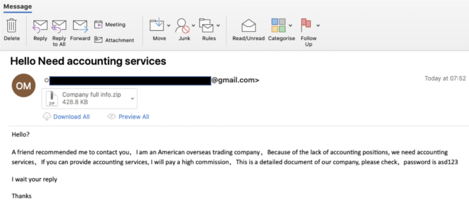 Screenshot of a scam email hosted by Microsoft targeting those who work in accounting.