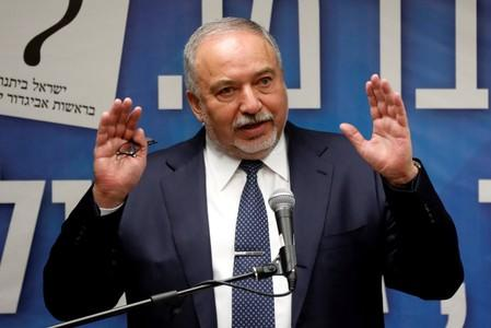 FILE PHOTO: Israel's former Defence Minister Avigdor Lieberman speaks during his Yisrael Beitenu party faction meeting at the Knesset, Israel's parliament, in Jerusalem