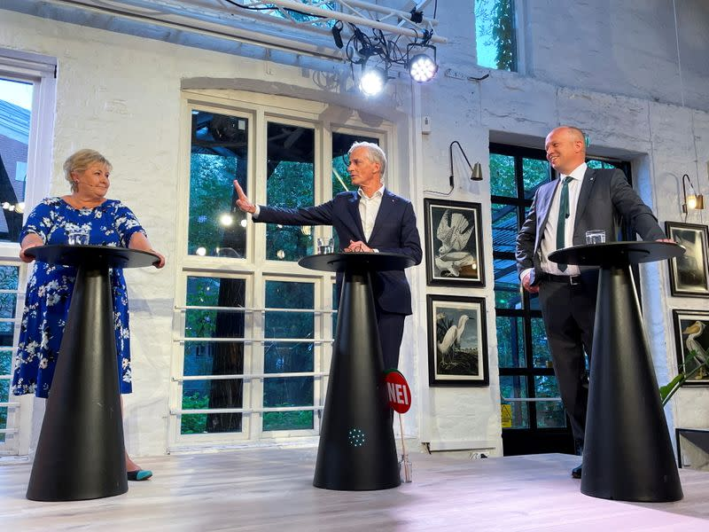 The three candidates to become Norway's next prime minister attend a debate in Oslo