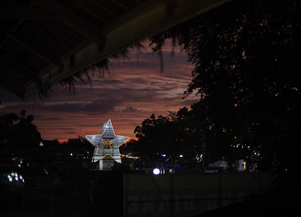 Panglao, Poblacion, Philippines. December 21 2019. Star was raised at the square beside st. Augustin church by the municipality of Panglao as decoration for the celebration of chrismas.