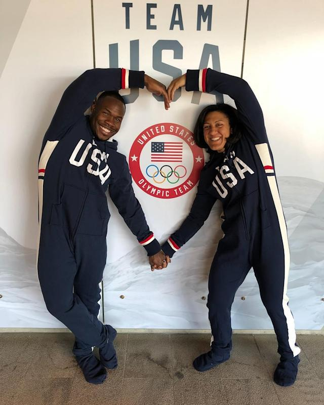 <p>American bobsledders Elana Meyers Taylor and Nic Taylor met in 2011 through the sport they both love. Taylor proposed to Meyers Taylor on the podium at the 2013 World Championships. They were married the following year in a bobsled-themed ceremony. Both are representing Team USA in PyeongChang. (Photo via Instagram/elanameyerstaylor) </p>