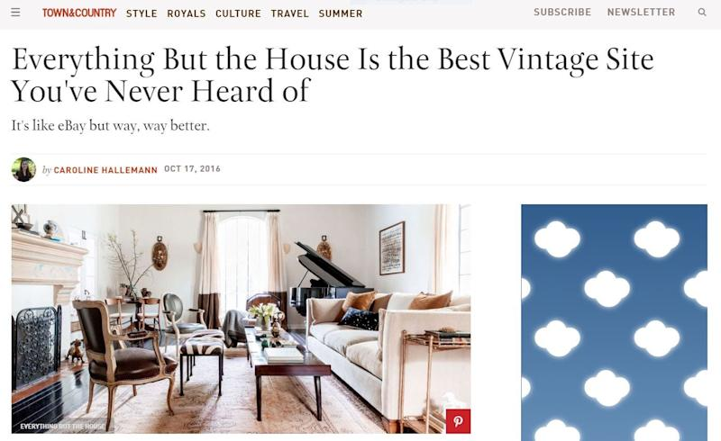 Town & Country article on Everything But The House in 2016.