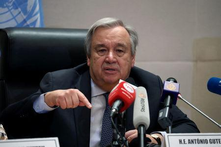 Antonio Guterres, United Nations Secretary General, speaks at a news conference at the 32nd Ordinary Session of the Assembly of the Heads of State and the Government of the African Union in Addis Ababa