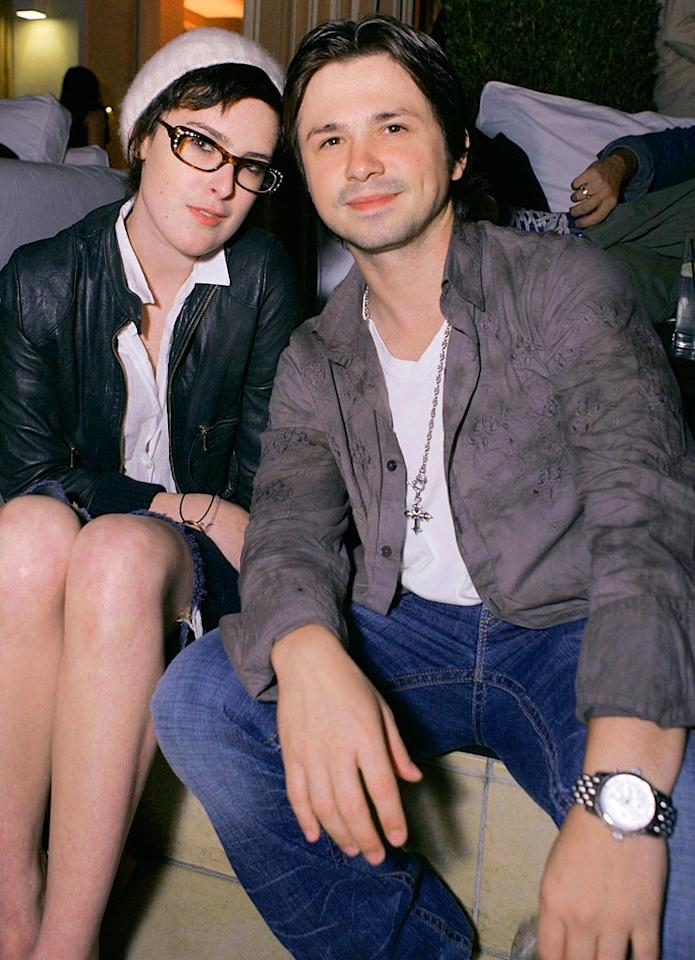 "Rumer Willis sports some geek-chic glasses while posing with Freddie Rodriguez. Chris Weeks/<a href=""http://www.wireimage.com"" target=""new"">WireImage.com</a> - August 8, 2007"