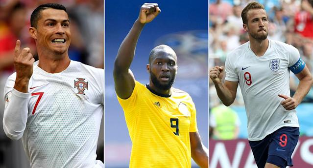 Cristiano Ronaldo, Romelu Lukaku and Harry Kane are leading the way in the race for the World Cup Golden Boot. (Getty)