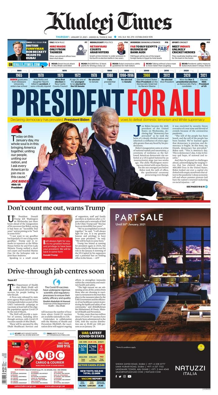January 21, 2021 front page of Khaleej Times