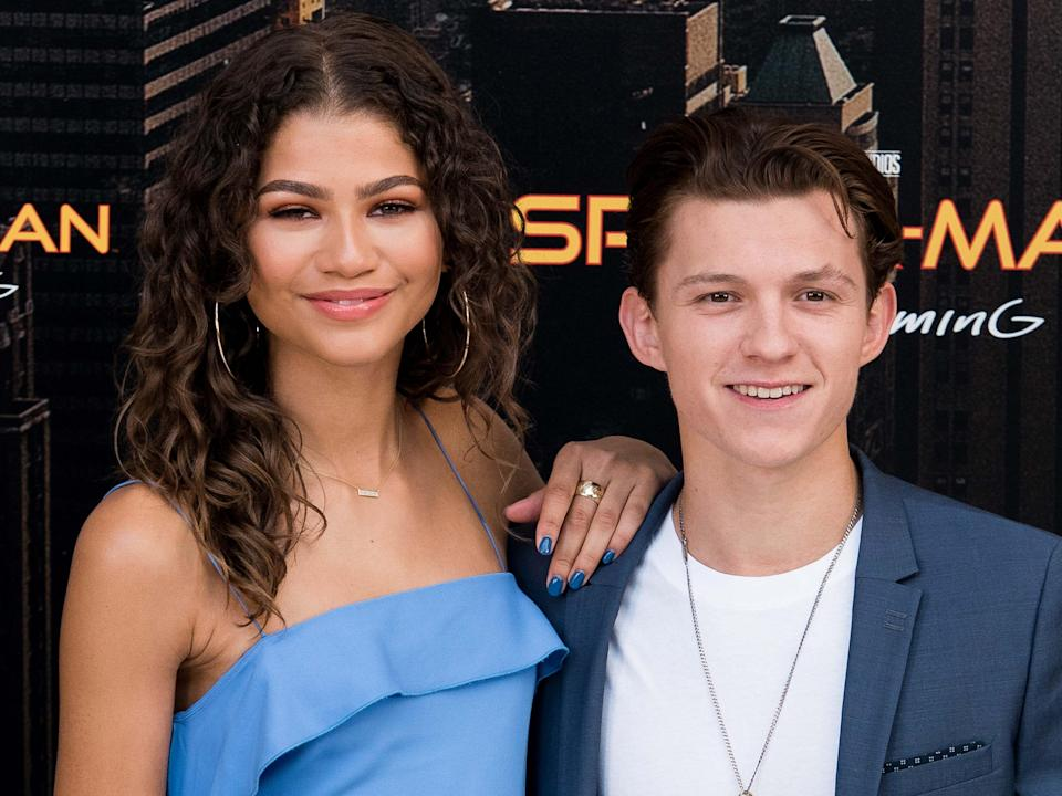 Zendaya and Tom Holland posing together in Madrid in June 2017.