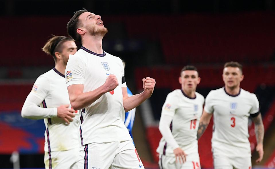 Rice scored his first England goal in the win over Iceland in midweek (POOL/AFP via Getty Images)