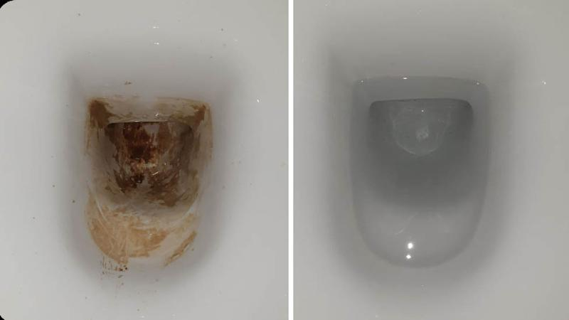 Image of toilet stained with brown marks because of calcification, next to same toilet sparkling white and clean after product Scalex used