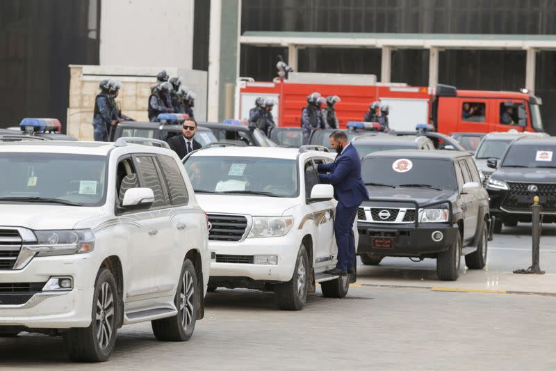The convoy of Libya's newly-elected Prime Minister Abdulhamid Dbeibeh is seen, in Sirte