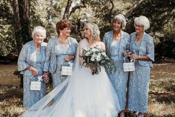 PHOTO: Lyndsey Raby of Tennessee, is pictured at her September 22 wedding with her great-grandmother, Kathleen Brown, her husband's grandmother, Joyce Raby, Lyndsey's grandmother Wanda Grant and her other grandmother, Betty Brown. (Natalie Caho Photography)