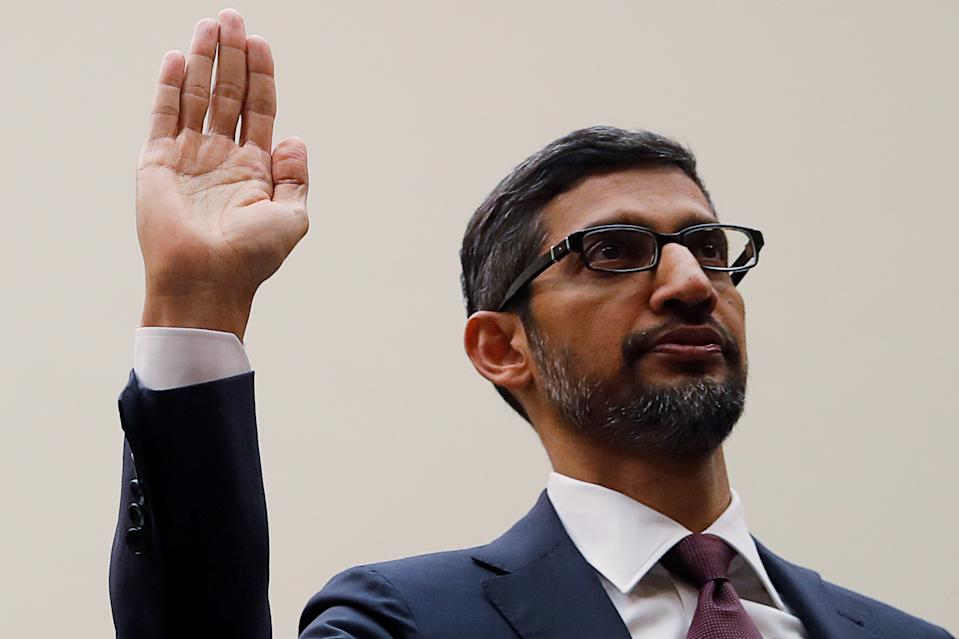 """Google CEO Sundar Pichai is sworn in prior to testifying at a House Judiciary Committee hearing """"examining Google and its Data Collection, Use and Filtering Practices"""" on Capitol Hill in Washington, U.S., December 11, 2018. REUTERS/Jim Young"""
