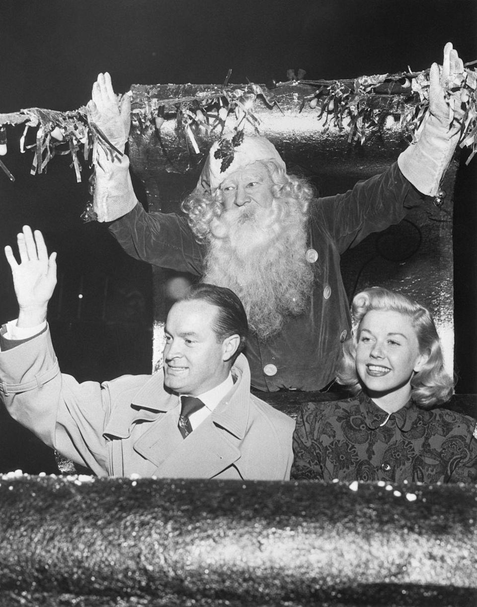 "<p>No, they're not heading to the North Pole. Bob Hope and Doris Day, who famously sang ""Baby It's Cold Outside"" together for Hope's radio show, were simply the guests of honor during a Christmas parade in 1948. </p>"