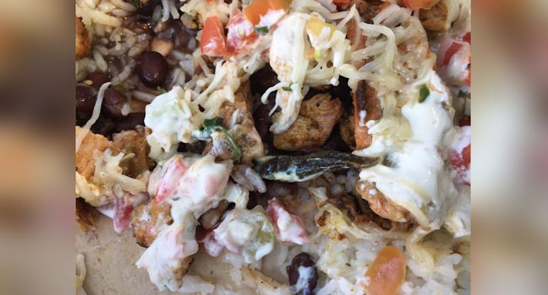 A Sydney man alleged there was a slug in his burrito bowl (pictured)