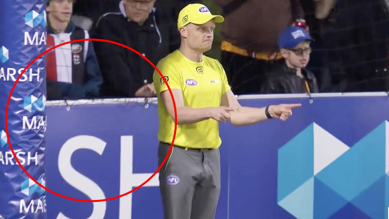 Goal umpires will no longer be required to return to the centre of the goal line to signal a score in 2020, a change to the AFL rule that has been in place since 1994. Picture: AFL.com.au