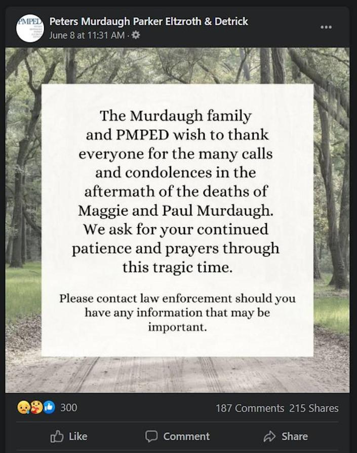 Statement on Murdaugh deaths from PMPED law firm.