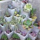 """<p>The hollow centers of cinder blocks make them perfect for plants. Create a """"living wall"""" of sorts by stacking them up and adding soil and succulents.</p>"""