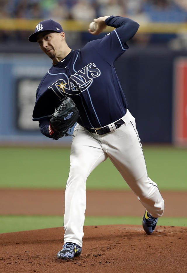 Tampa Bay Rays pitcher Blake Snell delivers to the Kansas City Royals during the first inning of a baseball game Wednesday, April 24, 2019, in St. Petersburg, Fla. (AP Photo/Chris O'Meara)