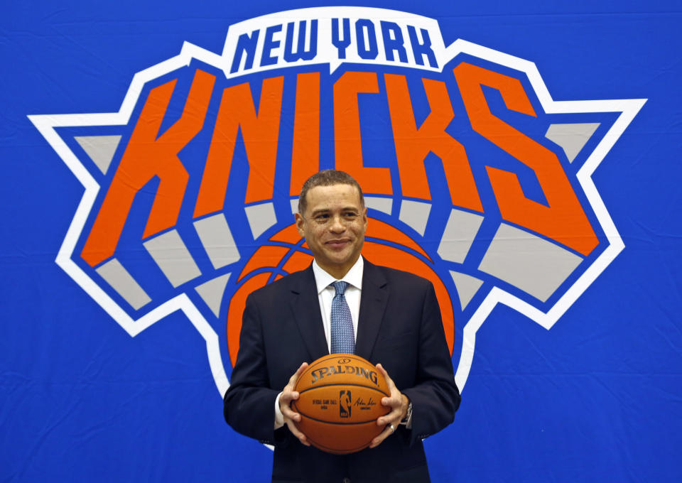 New York Knicks general manager Scott Perry poses for a picture after a news conference in Greenburgh, N.Y., Monday, July 17, 2017. (AP Photo/Seth Wenig)