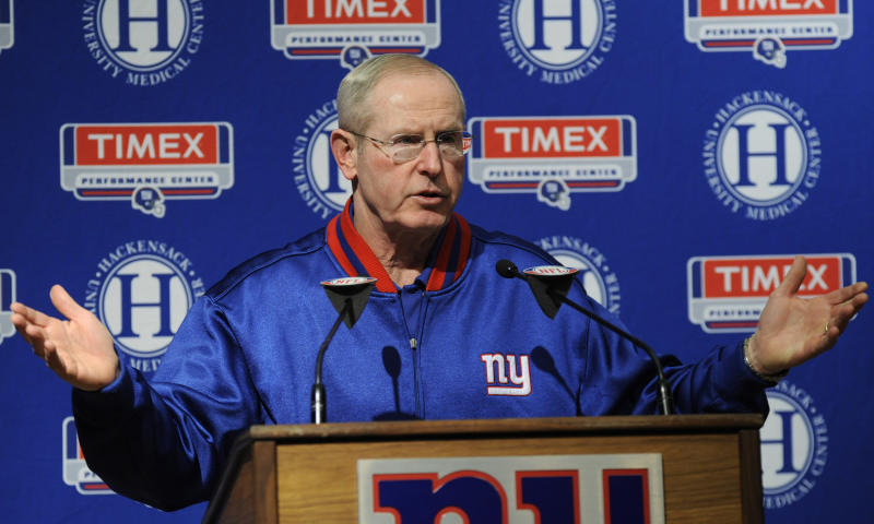 New York Giants coach Tom Coughlin talks to the media after the Giants  NFL football season ended Monday, Jan. 3, 2011 in East Rutherford, N.J. (AP Photo/Bill Kostroun)
