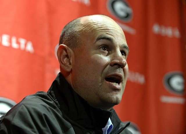 Jeremy Pruitt is introduced as Georgia's new defensive coordinator during an NCAA college football news conference on Wednesday, Jan. 15, 2014, in Athens, Ga. The former Florida State defensive coordinator, who helped lead the Seminoles to the 2013 BCS championship, said he would build relationships with Bulldog players to build their trust. (AP Photo/David Tulis)