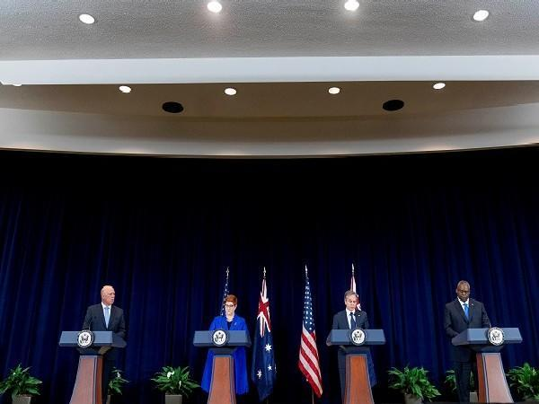 Defense and Foreign Ministers of both Australia and US attending a presser in Washington, U.S., September 16, 2021. (Photo Credit: Reuters)