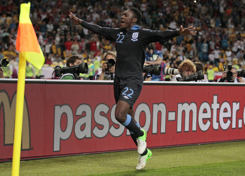 England's Danny Welbeck celebrates after scoring his side's third goal during the Euro 2012 soccer championship Group D match between Sweden and England in Kiev, Ukraine, Friday, June 15, 2012. (AP Photo/Ivan Sekretarev)
