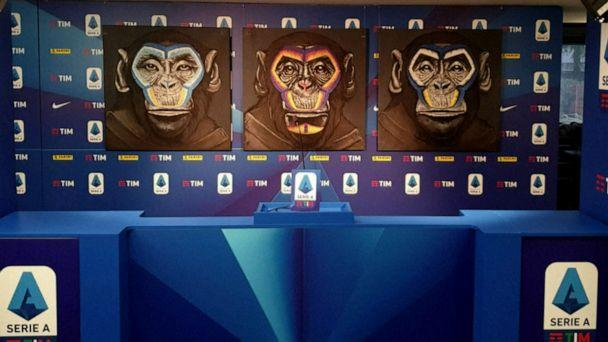 PHOTO: A poster by artist Simone Fugazzotto done as part of Serie A's campaign against racism features images of three monkeys. (Reuters TV)
