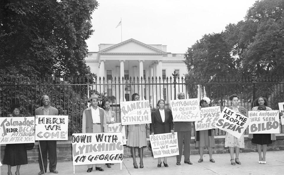 <p>In 1946, four young African Americans were murdered by a mob of angry white men in what is now known as the Moore's Ford Lynchings. The lynching caused widespread protests including many in Washington, D.C. Here, protestors called for President Truman to put an end to lynchings. </p>