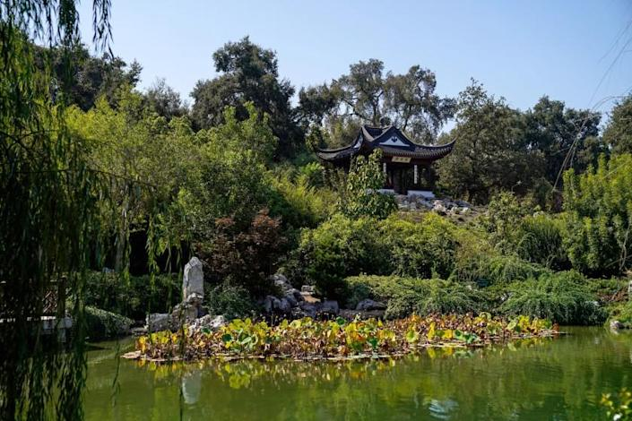 SAN MARINO, CA - SEPTEMBER 25: The Stargazing Tower is situated on the highest point in the garden at the southern end of the lake, at the Chinese Garden at The Huntington Library, Art Museum, and Botanical Gardens on Friday, Sept. 25, 2020 in San Marino, CA. (Kent Nishimura / Los Angeles Times)