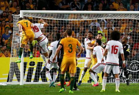 Football Soccer - Australia vs United Arab Emirates - 2018 World Cup Qualifying Asian Zone - Group B - Sydney Football Stadium, Sydney, Australia - 28/3/17 - Australia's Mathew Leckie (7) scores against UAE. REUTERS/David Gray