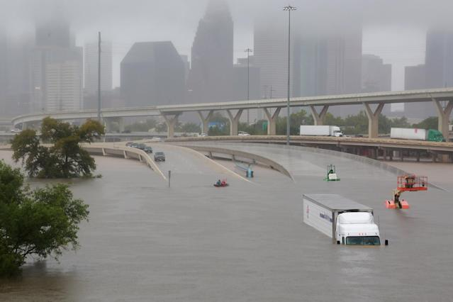 <p>Interstate highway 45 is submerged from the effects of Hurricane Harvey seen during widespread flooding in Houston, Texas, Aug. 27, 2017. (Photo: Richard Carson/Reuters) </p>