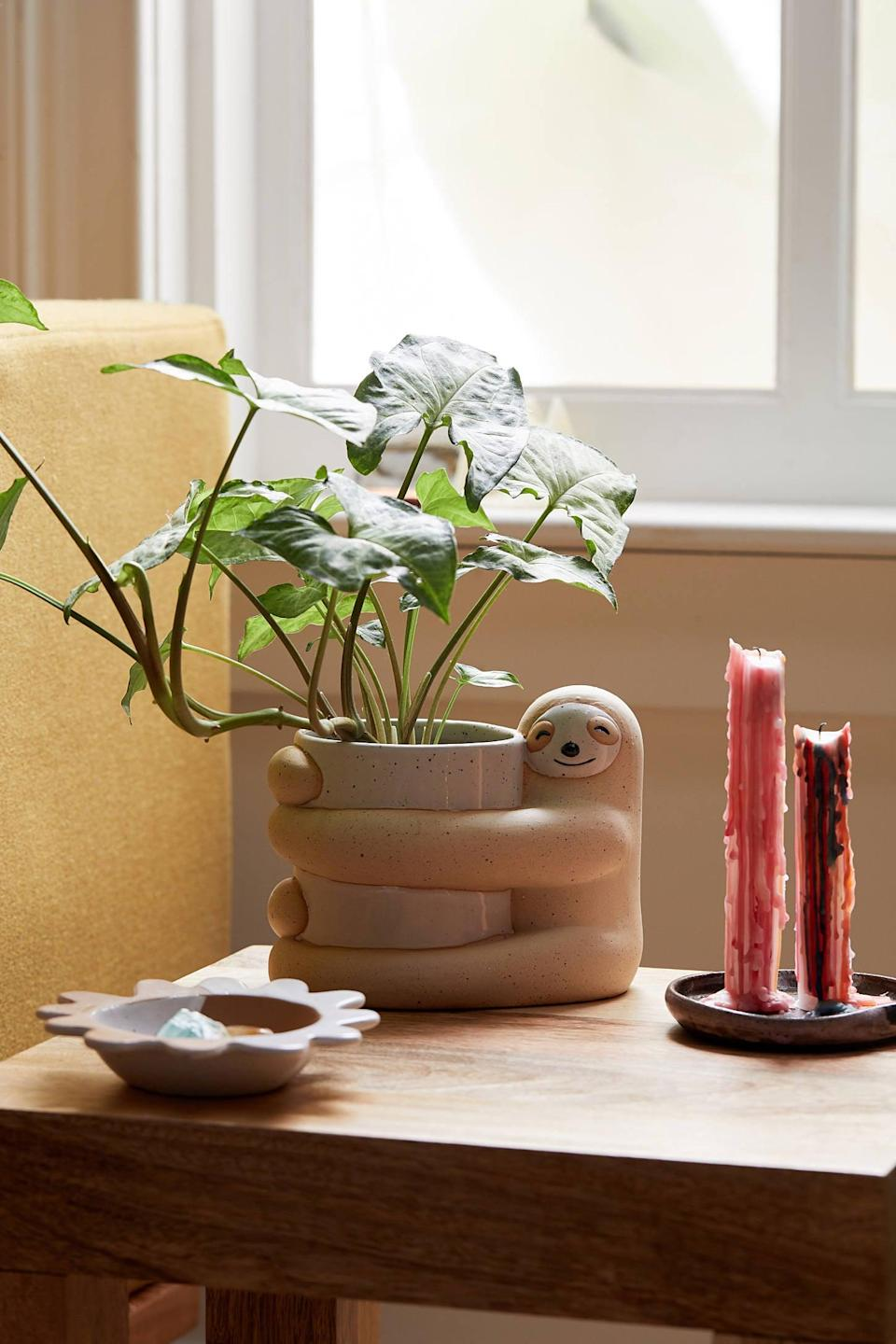 <p>The sloth on the <span>Sloth Planter</span> ($18) will give plants so much love. </p>